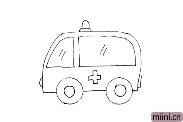 7.最后把最重要的标志,医院十字标志画上。到此,我们的救护车简笔画就完成啦。小朋友们不要担心画得不标准,只要勤练习,一定能画得越来越好的。