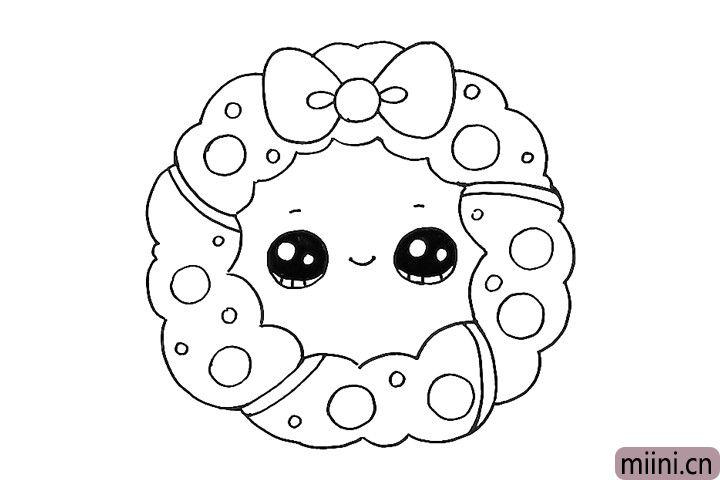 6.给花环画上可爱的表情。