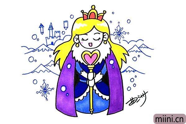 冰雪王国的漂亮公主简笔画步骤教程