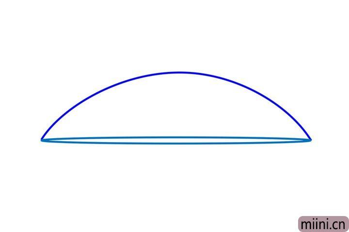 1.先用铅笔画一个半圆的形状,作为雨伞的引导线。