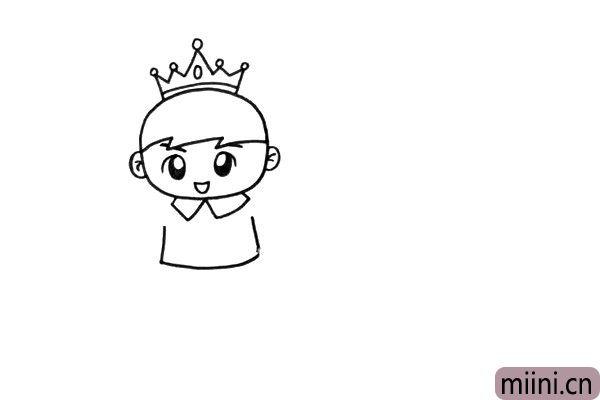 2.画好皇冠之后,我们就开始画出他的身体。