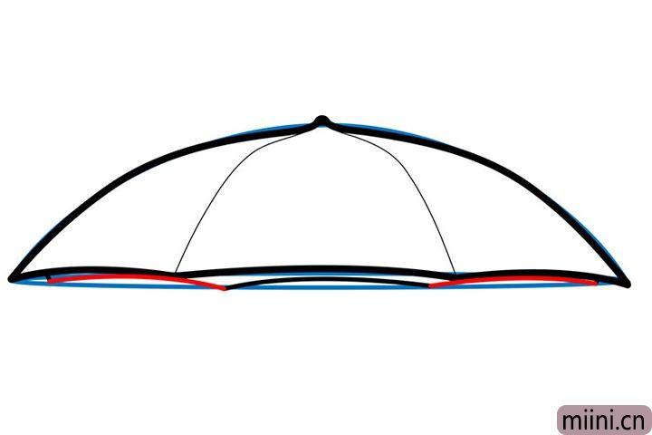 5.接下来用上一步的方法,画出雨伞另一边的弧度轮廓。