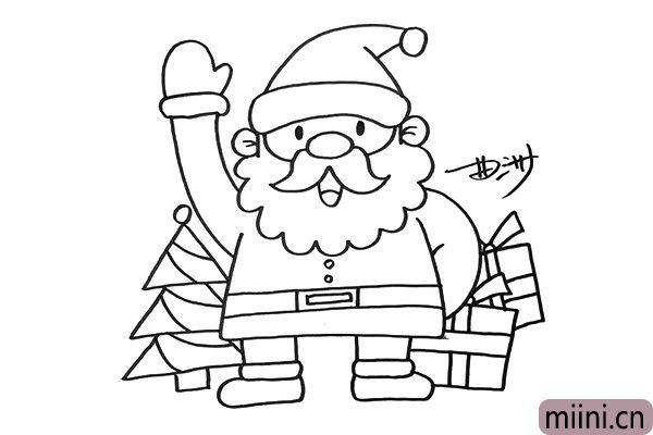 4.在背景中我要画出圣诞树和很多礼物,让画面的圣诞气氛更加的浓重。