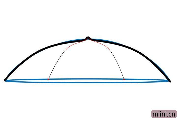 3.画两根弧线,作为雨伞的骨架。