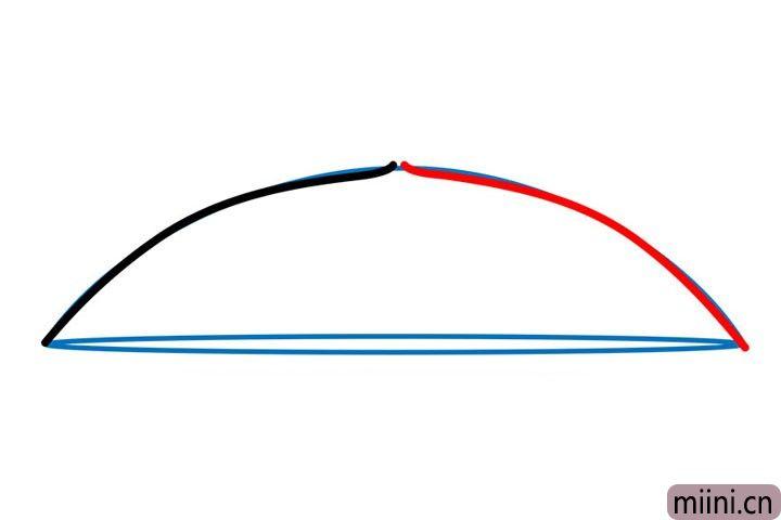 2.用两根弧线画出雨伞的伞面。