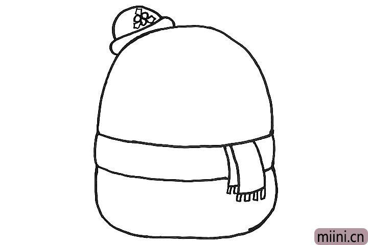 4.来给雪人画一个漂亮的礼帽吧。