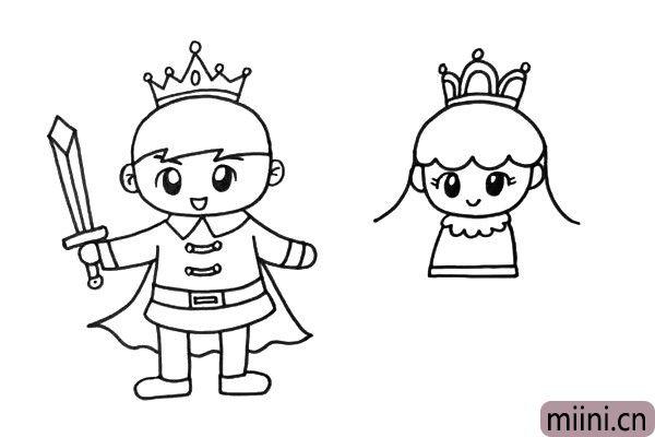 4.在画面的右边,我画出一位可爱的小公主。