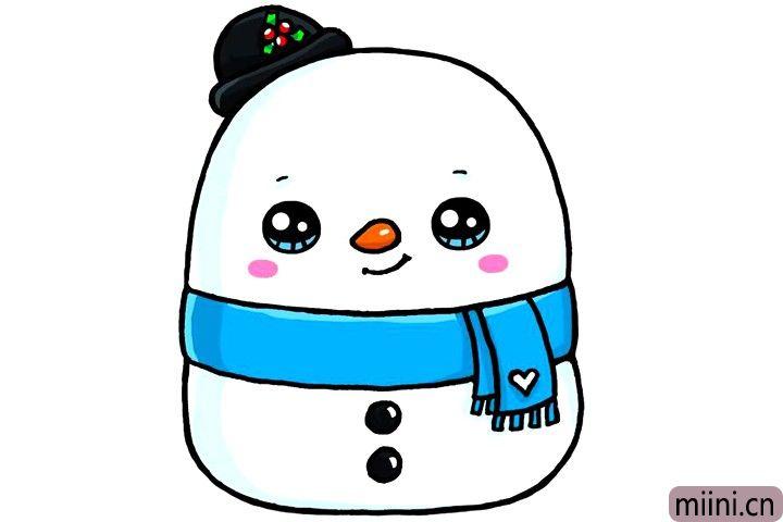 7.给雪人涂上漂亮的颜色就完成了。
