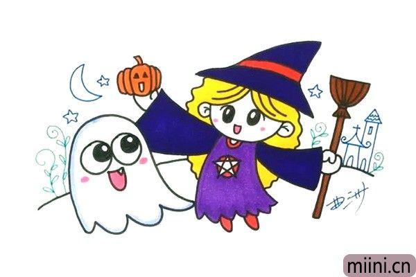 拿着扫把的万圣节幽灵小巫婆简笔画步骤教程