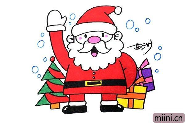 5.现在我们开始给圣诞老人上色吧。