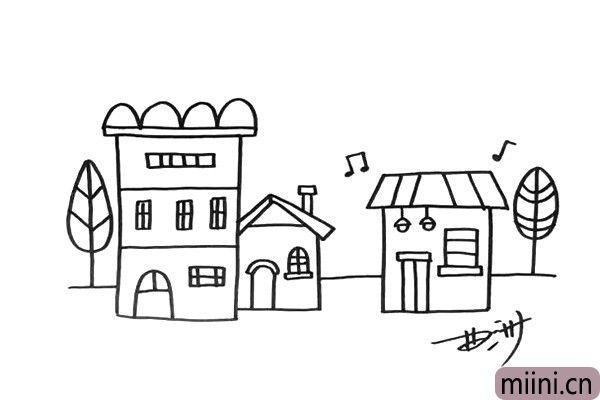 4.现在我加上一些树木和音符,让画面看起来更像一个小镇。