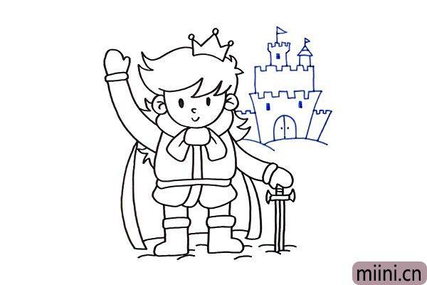 4.人物画好之后,我们来画出背景,在王子的身后是他的冰雪城堡。