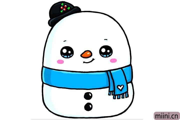 可爱的雪人娃娃简笔画步骤教程
