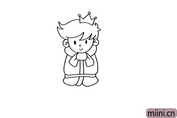 2.接着画出他的王冠,这象征着王子的权利,还要画出他厚厚的衣服。