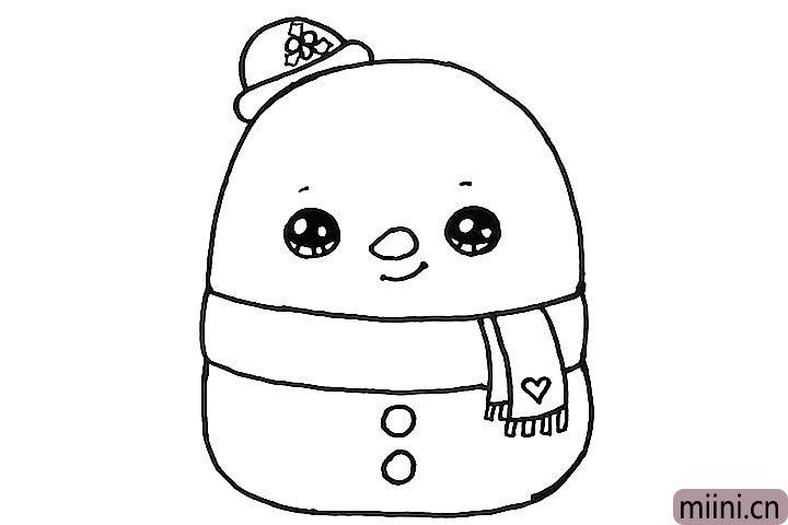 6.在雪人的身体上画上两粒扣子,再给围巾画一个爱心装饰吧。