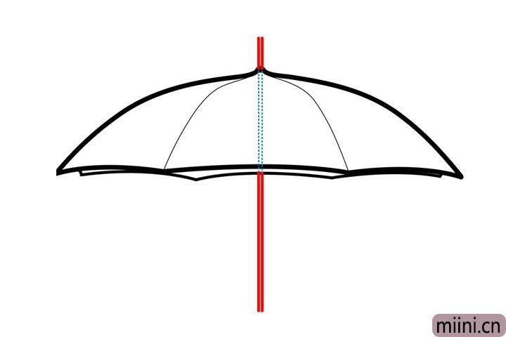 6.用两根直线画出雨伞的中棒和伞帽。