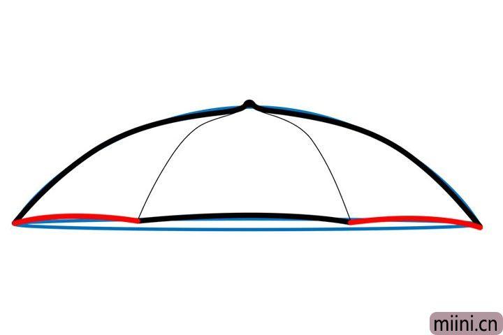 4.红弧线画出伞面的弧度。