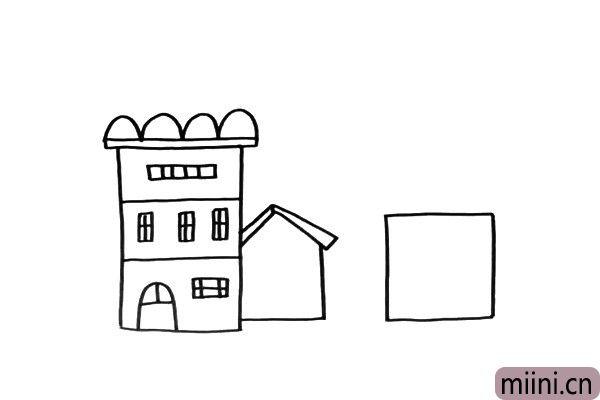 2.我们开始给这些形状加上房屋的细节,在它们周围还可以加上不同的房子,注意形状也要不同。