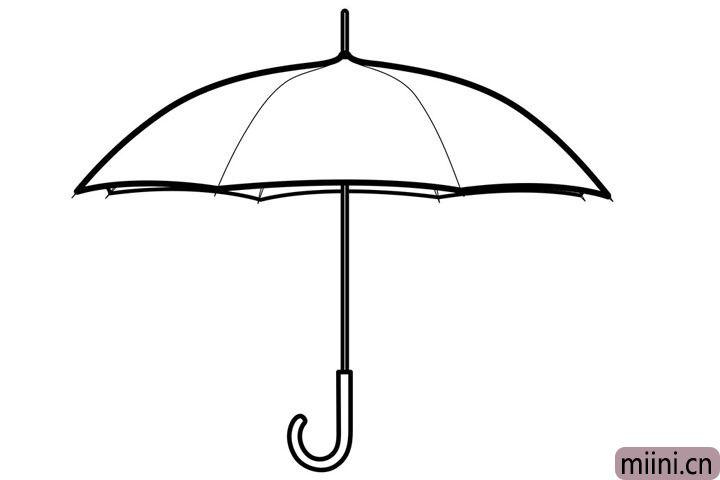 """7.最后画出他""""J""""形状的伞把。"""
