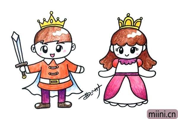 幸福在一起王子和公主简笔画步骤教程