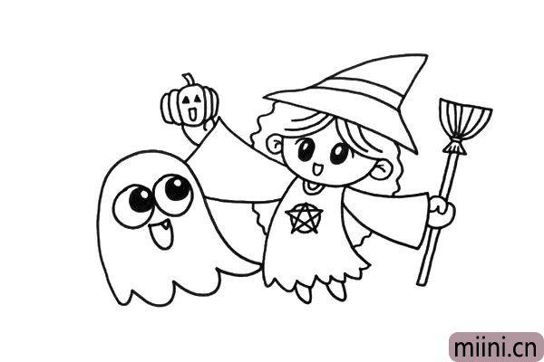 3.现在我们可以完成小魔女的人物形象了,加上南瓜和扫把作为道具。