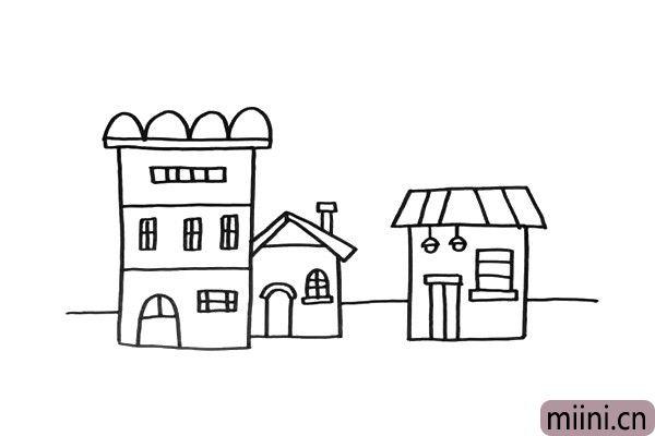 3.我这里画出了三幢房屋,你可以按照这个方式,画出更多的房子。