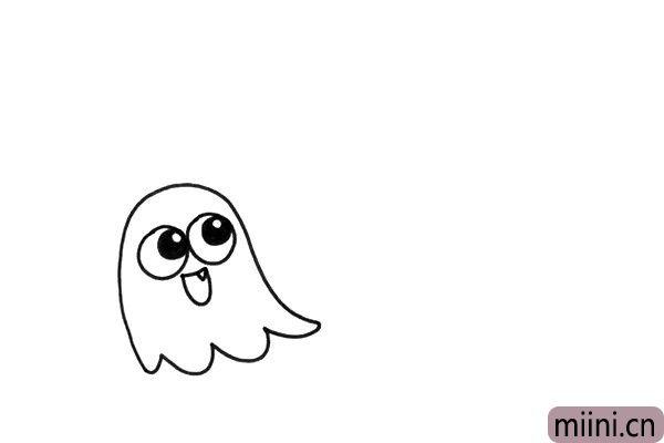 1.在画面中,我先画出了一只非常可爱的小幽灵,它有一对大大的眼睛。