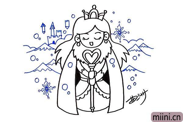 5.使用蓝色的水彩笔加上背景,背景里有山、城堡、雪花,显得比较丰富。