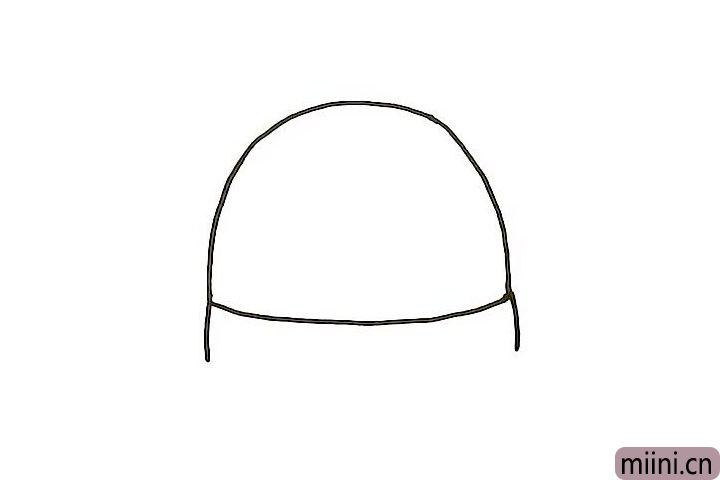 2.下面画一条弧线,将半圆闭合,作驯鹿的围巾轮廓,在两边画出围巾的厚度轮廓。