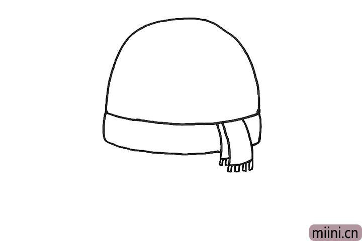 2.接着帮雪人画脖子上的围巾。