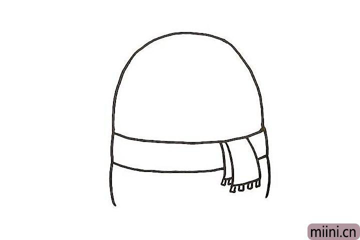 4.画出围巾下面的轮廓线条和身体线条。