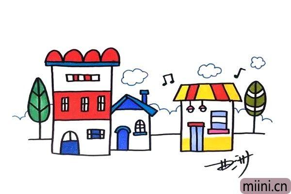被音乐环绕的小镇简笔画步骤教程