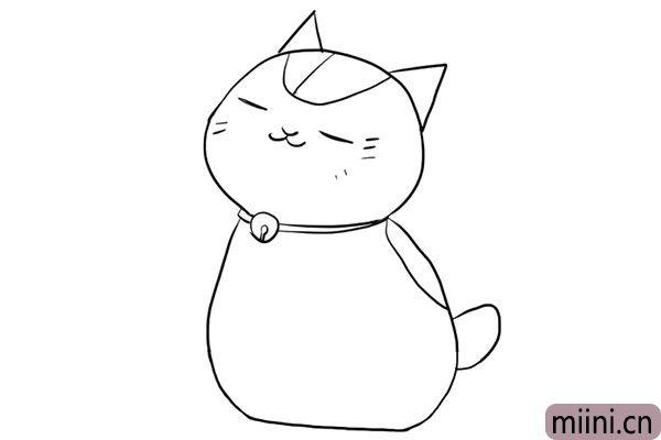 4.然后画小猫胖胖的身体。