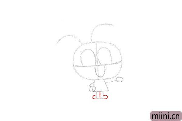 9.在长方形中间画一条竖线,将Anais的腿部分成两部分,在底部两侧画两条曲线,作为脚的素描线稿。