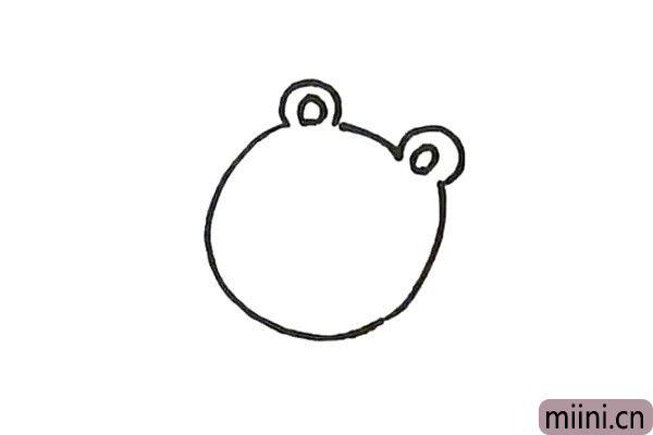 1.先画出右边小熊的脸部轮廓和耳朵。