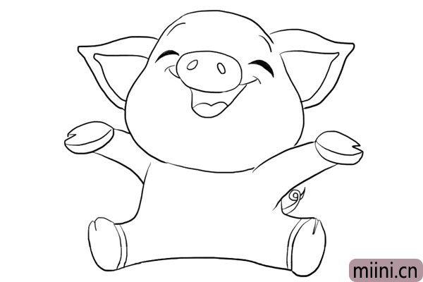 非常开心的小猪简笔画步骤教程