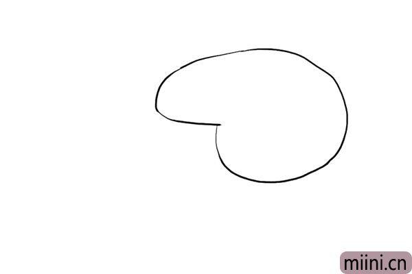 1.先画出小猪佩奇的头部轮廓。