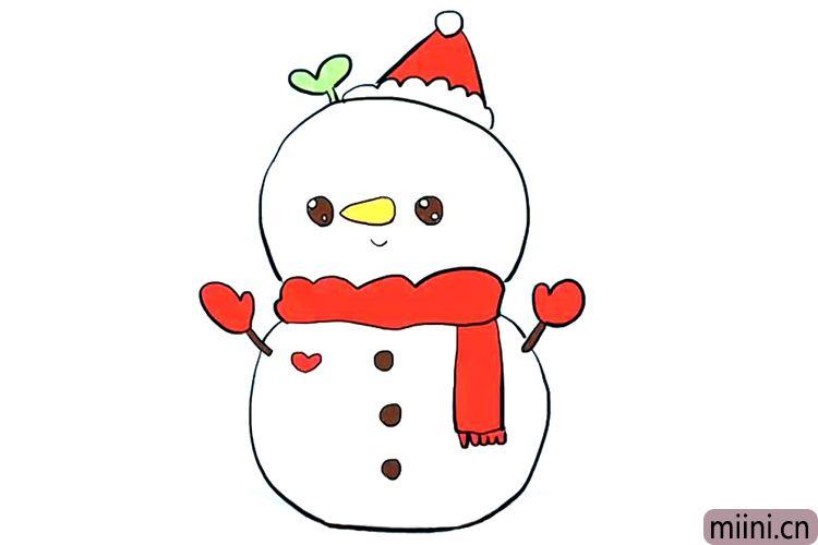 很好看的圣诞雪人简笔画步骤教程