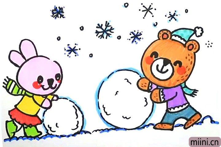 小熊和小兔子滚雪球的简笔画步骤教程