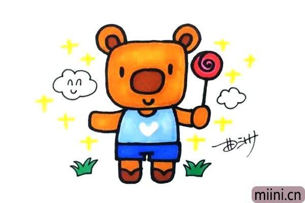 卡通小熊简笔画步骤教程