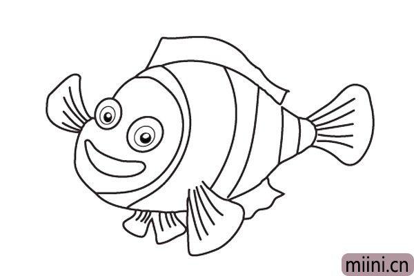 5.接着给它画上尾鳍和背鳍。