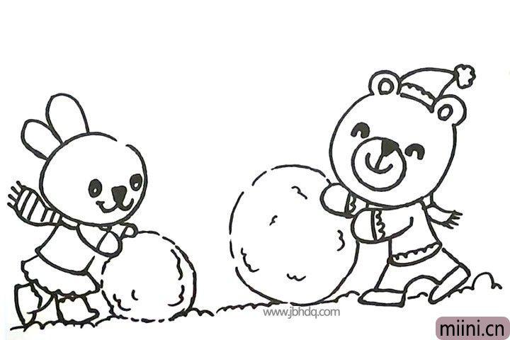 12.画小兔子推着的雪球和草地。