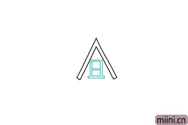 2.画出房屋顶层的窗户,类似两个口字重叠。