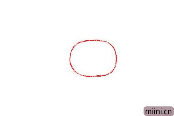 1.首先在页面中间附近画一个椭圆。作为Anais头部素描线条。