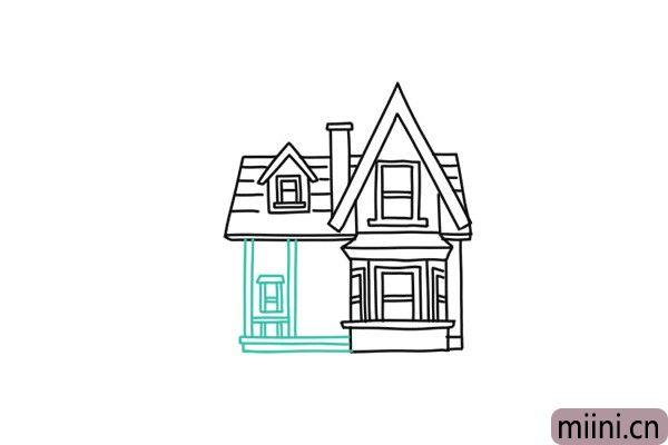 8.勾画主房屋的窗户轮廓线条。