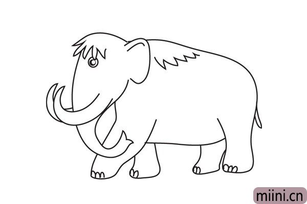 6.在背部给它画上一点鬃毛,然后脚上面给她画上脚趾,这样我们的猛犸象简笔画就画好了。