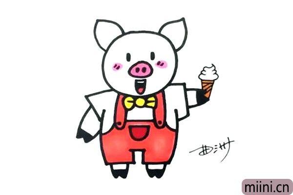 喜欢吃冰激凌的小猪简笔画步骤教程