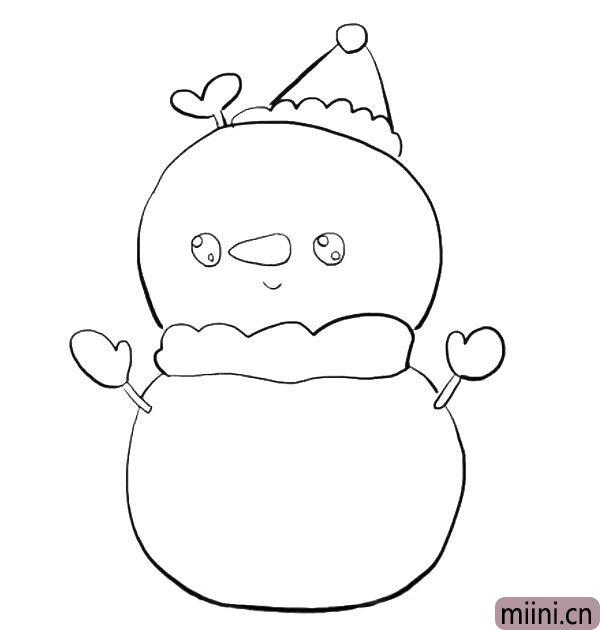 6.接着画雪人的眼睛鼻子和嘴巴。