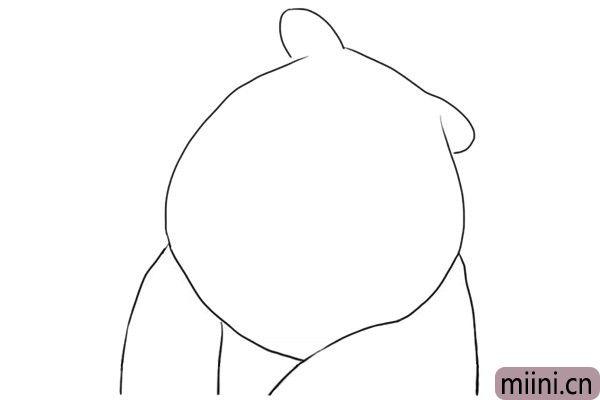 3.画熊二部分身体轮廓。