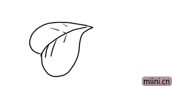 2.接着画心形叶子里面的叶脉。